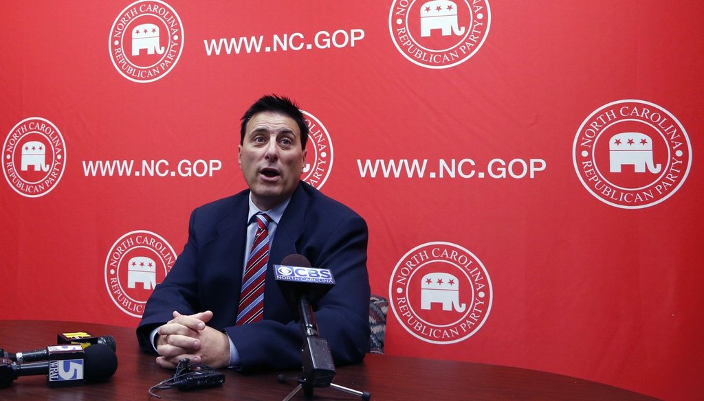 Dallas Woodhouse, executive director of the NC GOP, speaks during a press conference in November 2016.