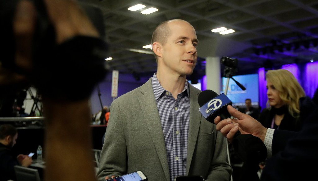 Rusty Hicks speaks to reporters during the 2019 California Democratic Party State Organizing Convention in San Francisco, Sunday, June 2, 2019. AP Photo/Jeff Chiu