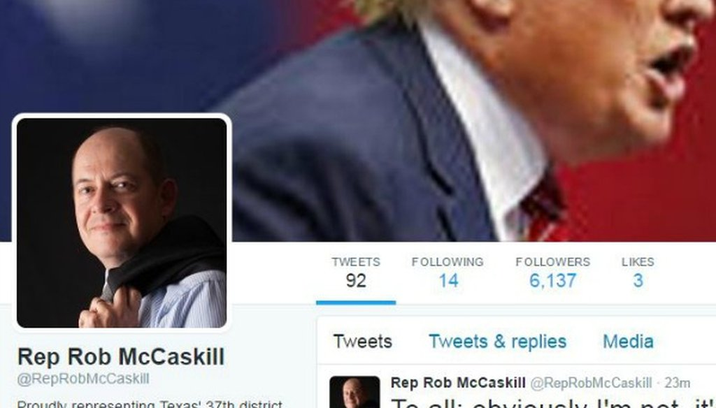 Here's what the Twitter feed for a fake Texas congressman looked like before it was closed in February 2017 (screenshot, cachedview.com, Feb. 14, 2017).