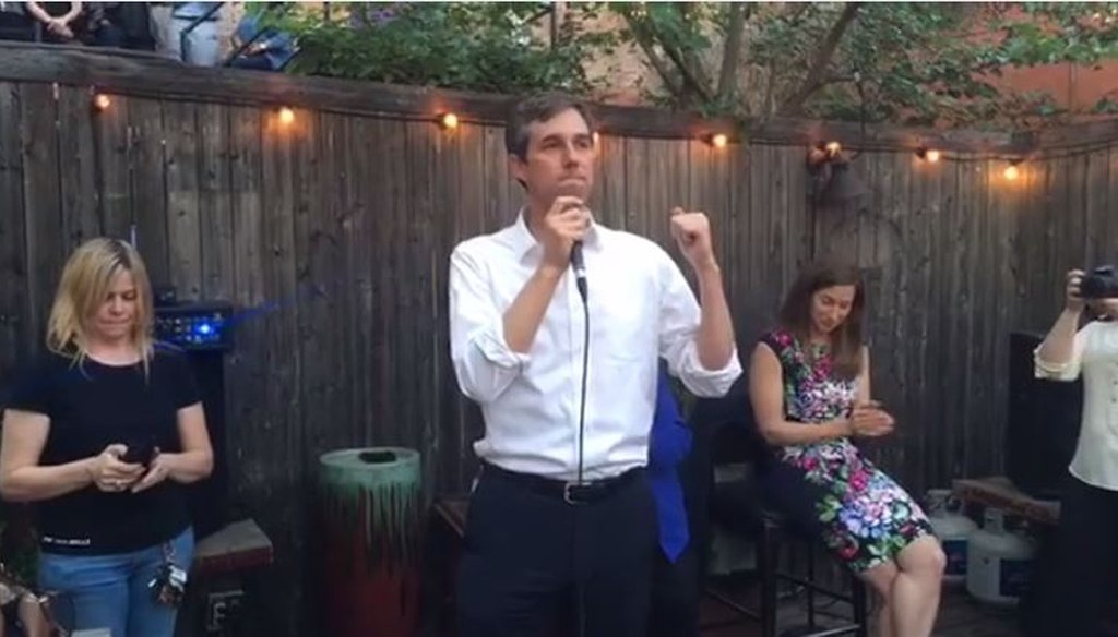 Democrat Beto O'Rourke, the El Paso U.S. House member seeking to represent Texas in the U.S. Senate, made a claim about not taking corporate or PAC contributions at a campaign event in Dallas March 31, 2017 (Screenshot of O'Rourke campaign video).