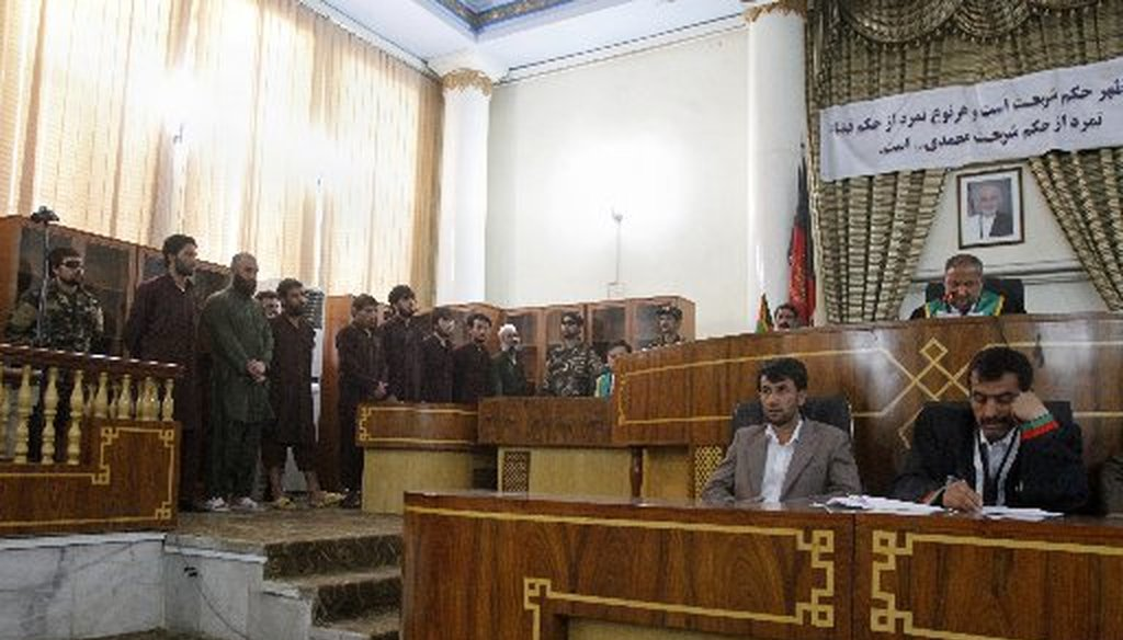 This is a court in Afghanistan that follows Sharia law. We found no evidence Muslims tried to open a Sharia court in Irving, Texas (Photo, The Associated Press).