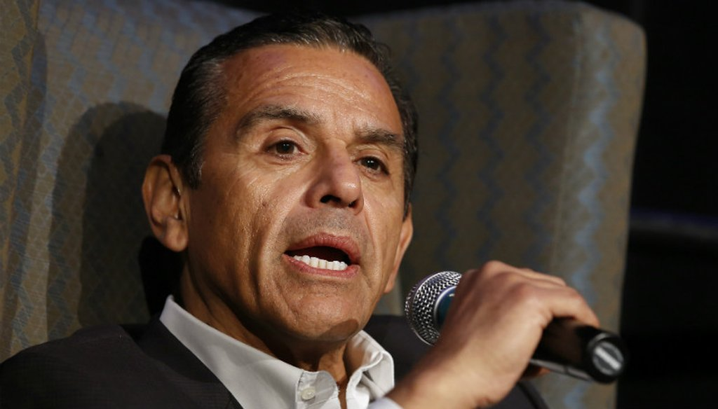 Former Los Angeles Mayor Antonio Villaraigosa, a candidate for California governor, speaks at a gubernatorial candidates forum, Tuesday, April 4, 2017, in Sacramento, Calif. (AP Photo/Rich Pedroncelli)