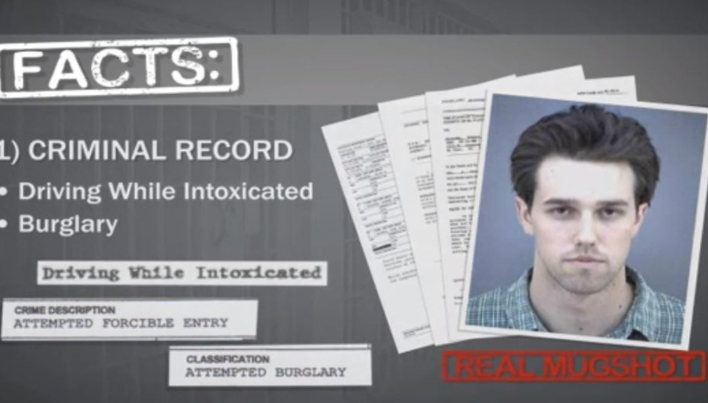 This screen grab comes from a May 2012 TV ad from then-Rep. Silvestre Reyes, D-El Paso, saying challenger Beto O'Rourke had a criminal record (VIMEO video, August 2018).