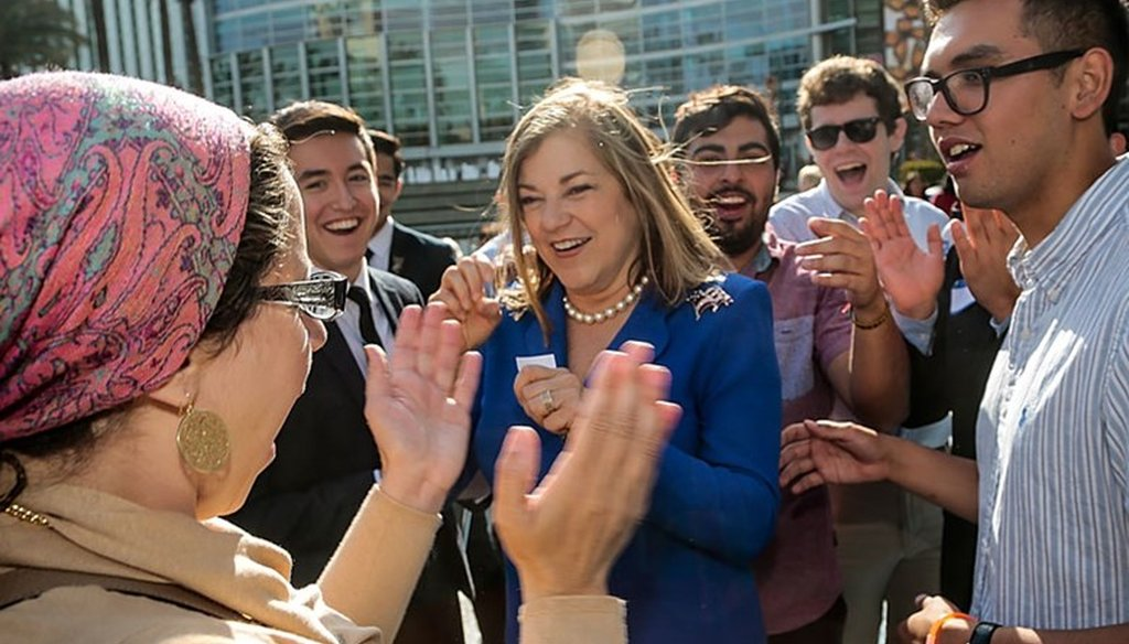 California Rep. Loretta Sanchez, middle, greets supporters at the California Democrats State Convention in Anaheim, Calif., on Saturday, May 16, 2015. Associated Press photo.