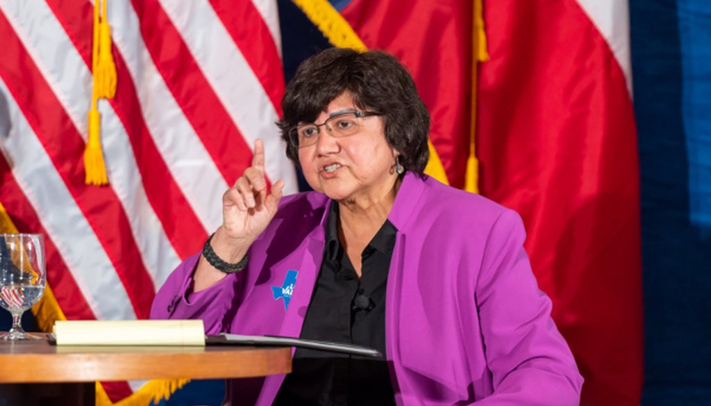 Lupe Valdez, shown here in a May 2018 pre-runoff debate with Andrew White, later made a Mostly True claim about how Texas ranks for health care and health insurance coverage (James Stacy/Austin American-Statesman, May 11, 2018).