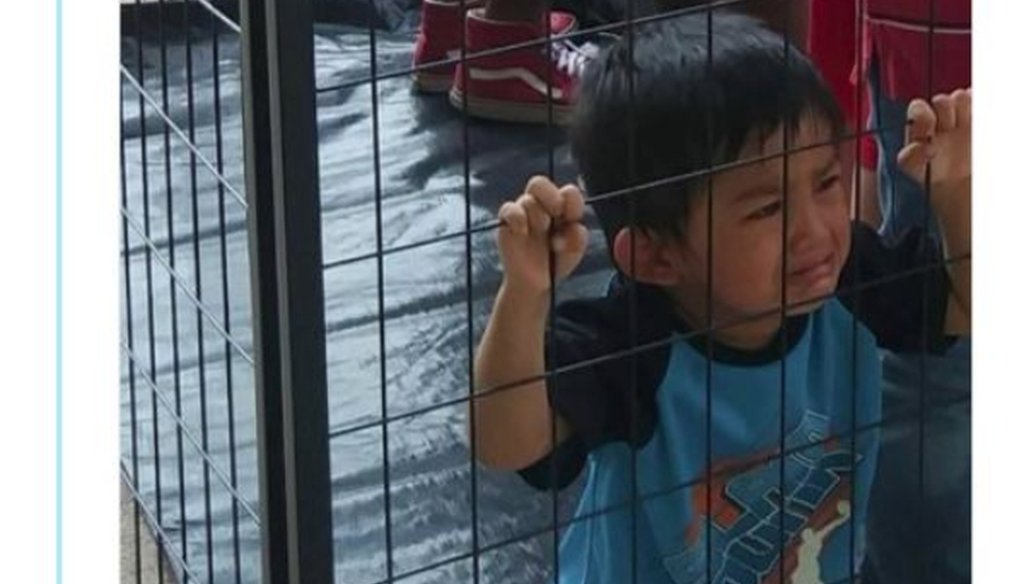 This June 11, 2018 tweet presents a photo of a boy described as caged. PolitiFact Texas rated the tweeted photo False.