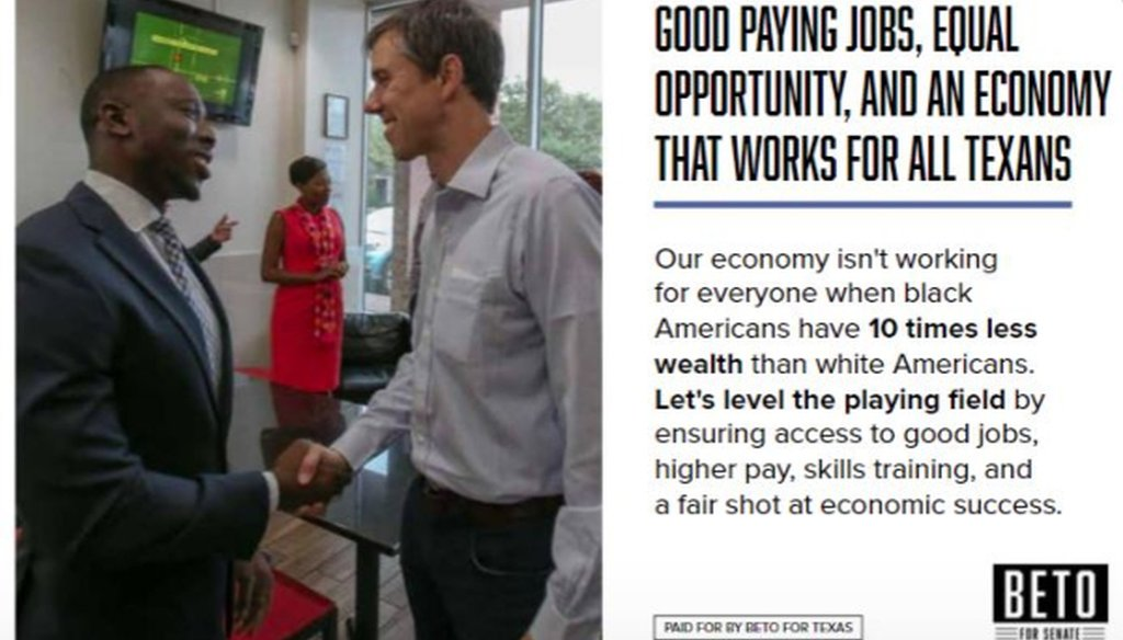 Democratic U.S. Senate nominee Beto O'Rourke placed this ad about black wealth in a July 2018 issue of the Houston Defender (O'Rourke campaign).