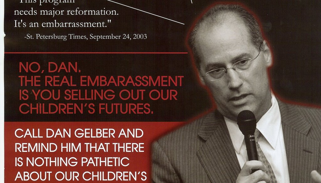 "The Committee for Florida's Education produced this mailer calling Democratic attorney general candidate Dan Gelber ""toxic for Jewish education."""