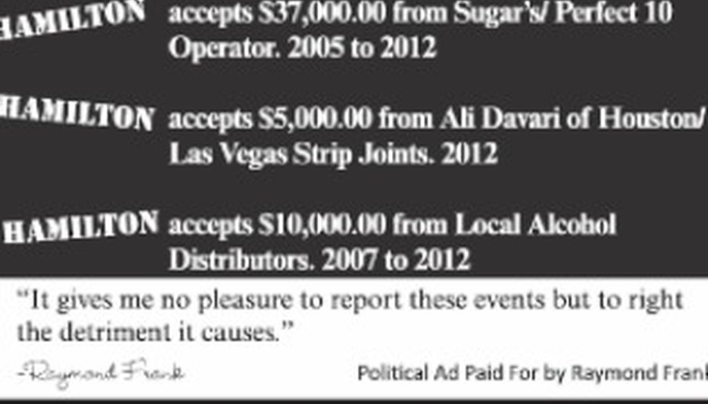 Raymond Frank's ad Oct. 10, 2012, included the claims shown here.
