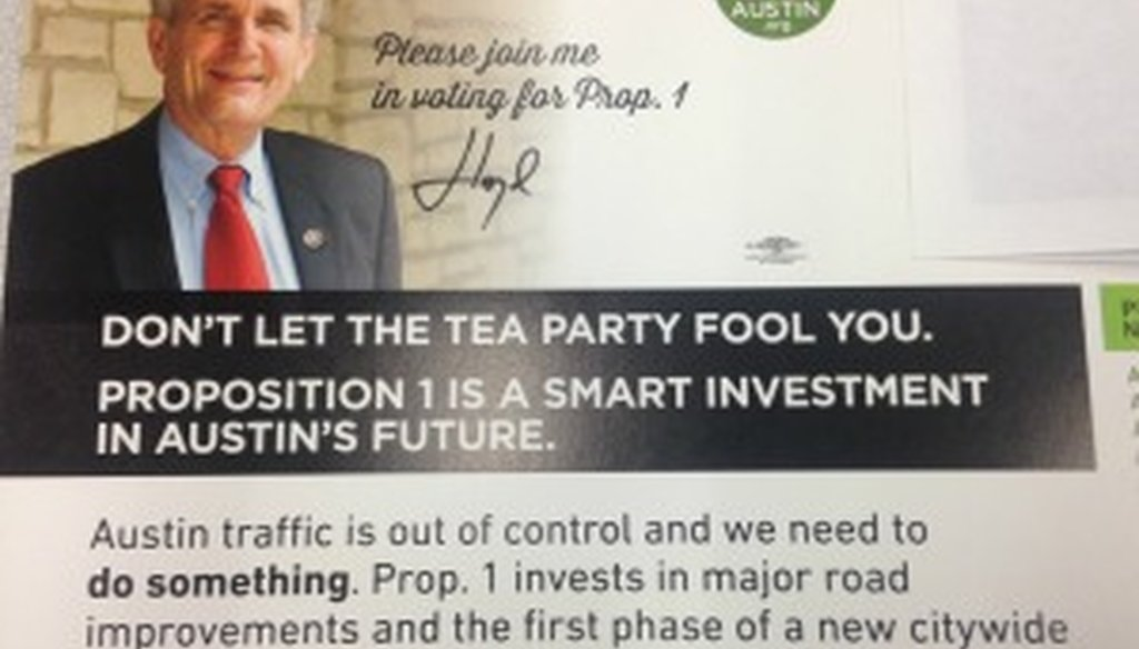 Austin U.S. Rep. Lloyd Doggett made a flawed claim about the Austin Tea Party in this October 2014 mailer promoting a city proposition on the November ballot.