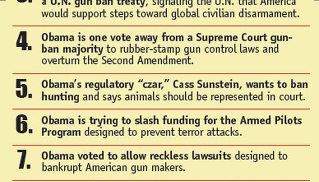 "The NRA's ""Ten Reasons Why Obama is Bad News for the Second Amendment."""
