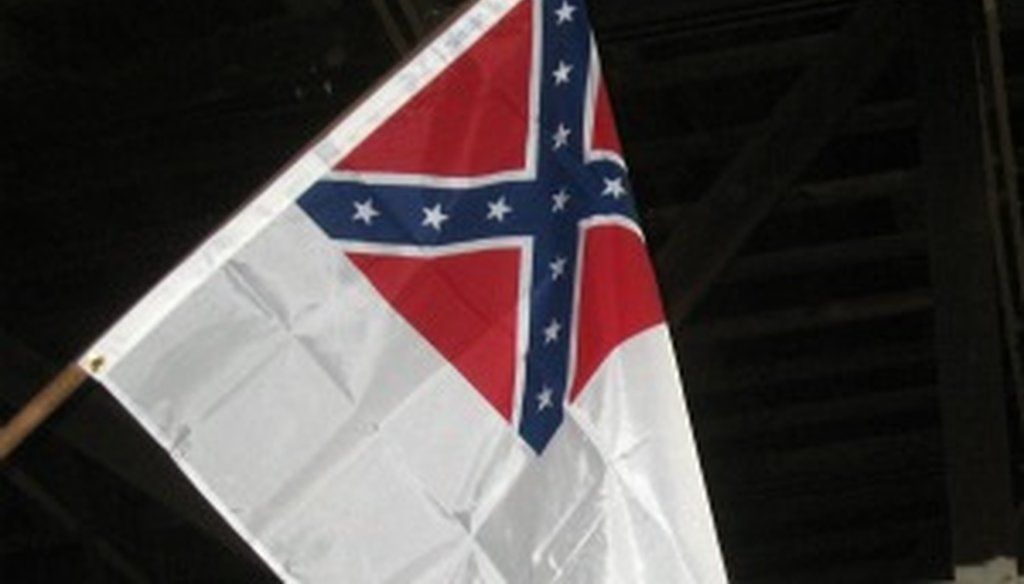 The second national flag of the Confederacy as displayed at the Texas Military Forces Museum, Camp Mabry, Austin (photo by W. Gardner Selby, Austin American-Statesman).
