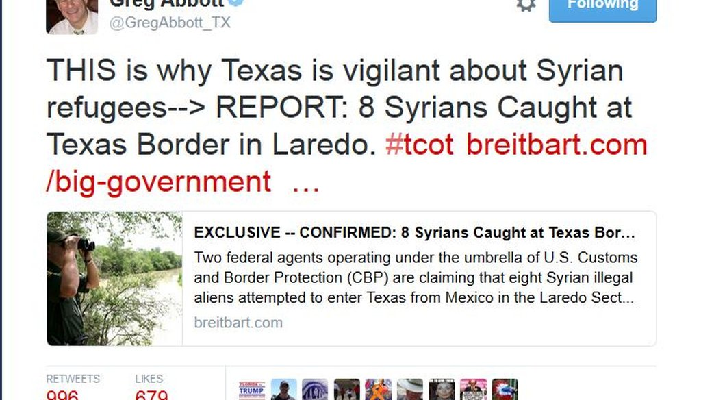Greg Abbott tweeted about Syrians caugth at the border Nov. 18, 2015. We found this claim Mostly False; there was considerable missing context.