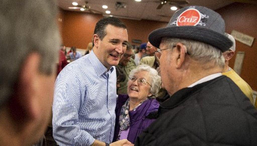 "Ted Cruz, shown here stumping in Iowa in November, correctly said President Obama doesn't say ""radical Islamic terrorism."" (New York Times photo)"