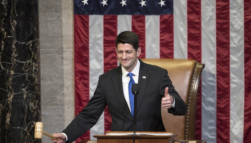 House Speaker Paul Ryan of Wis. gavels in the members of the House of Representatives after administering the oath as the 115th Congress convenes on Capitol Hill in Washington, Tuesday, Jan. 3, 2017. (AP)