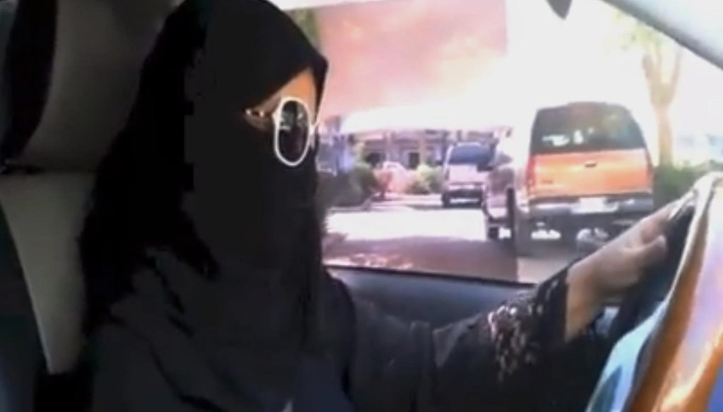 In this image made from video provided by theOct26thDriving campaign, which has been authenticated based on its contents and other AP reporting, a Saudi woman drives a vehicle in Riyadh, Saudi Arabia, Saturday, Oct. 26, 2013. (AP file)
