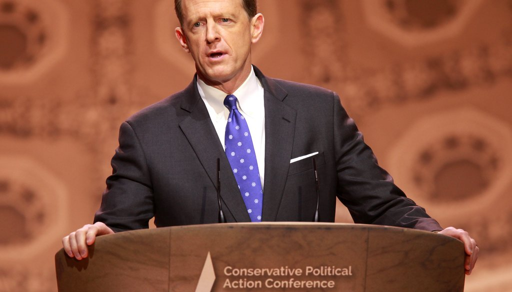 Pat Toomey speaks at a conference. (Via Flickr)