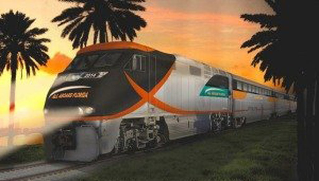 A rendering of a train for All Aboard Florida.