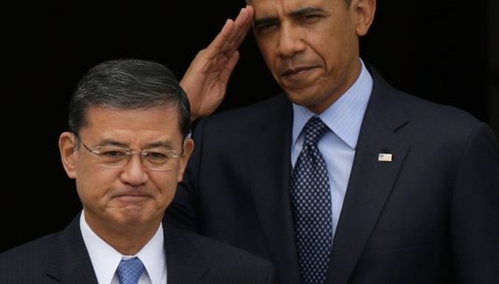 President Barack Obama and Veterans Affairs Secretary Eric Shinseki. (Getty Images)