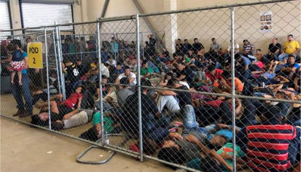 Migrant families crowd into chain-link enclosures on June 10, 2019, at U.S. Border Patrol's McAllen, Texas, station. (Department of Homeland Security via Storyful)