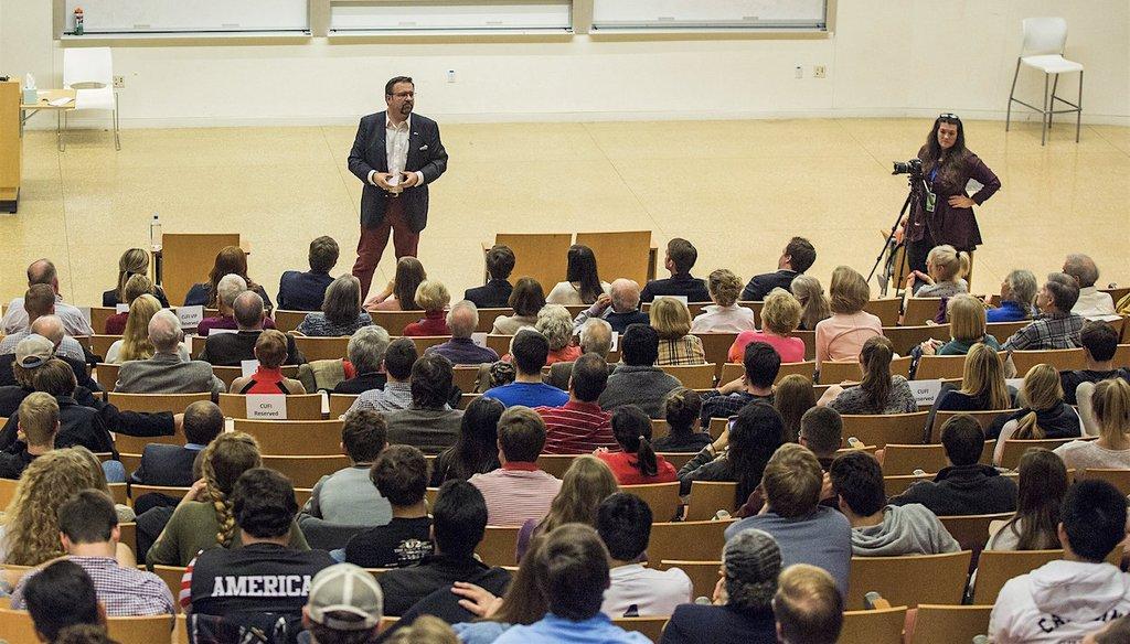 Sebastian Gorka, a former aide to President Donald Trump, speaks at the University of North Carolina in Chapel Hill on Nov. 13.