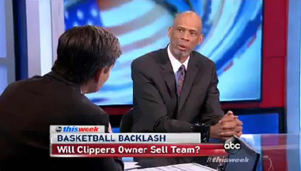 "Kareem Abdul-Jabbar appeared on ABC's ""This Week"" on May 4, 2014."