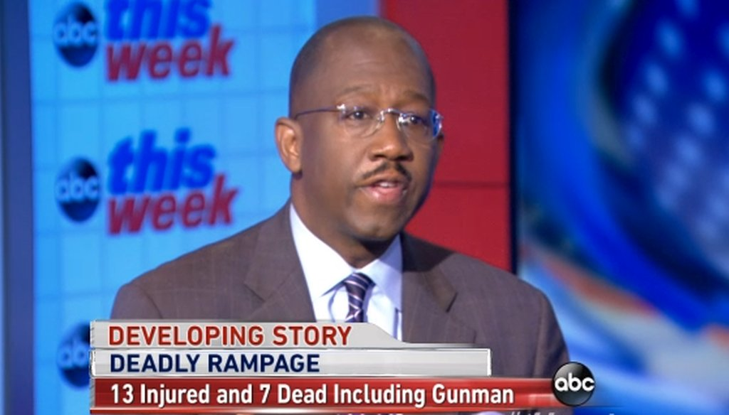 """On ABC's """"This Week"""" Pierre Thomas claimed that the number of mass shootings has increased """"three-fold"""" in recent years."""