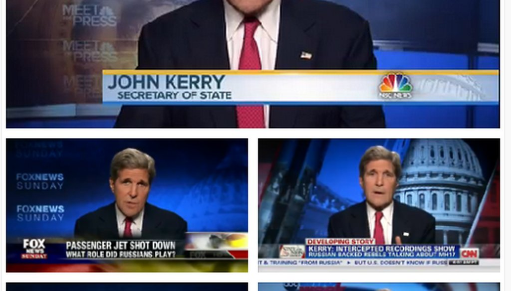 John Kerry appeared on all five major Sunday news shows on July 20, 2014.
