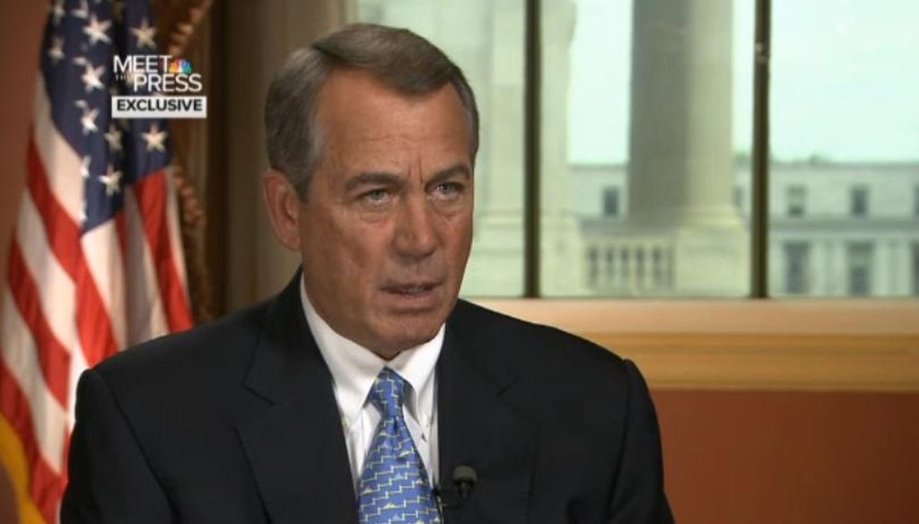 "House Speaker John Boehner, R-Ohio, on NBC's ""Meet the Press."""