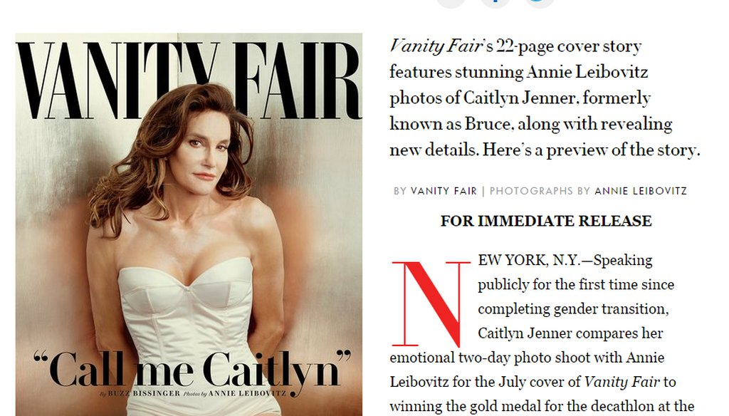 "On Monday, ""Vanity Fair"" introduced the world to Caitlyn Jenner. That same day, ESPN announced it would honor Jenner, the transgender gold medal-winning Olympian formerly named Bruce, with the Arthur Ashe Courage Award."