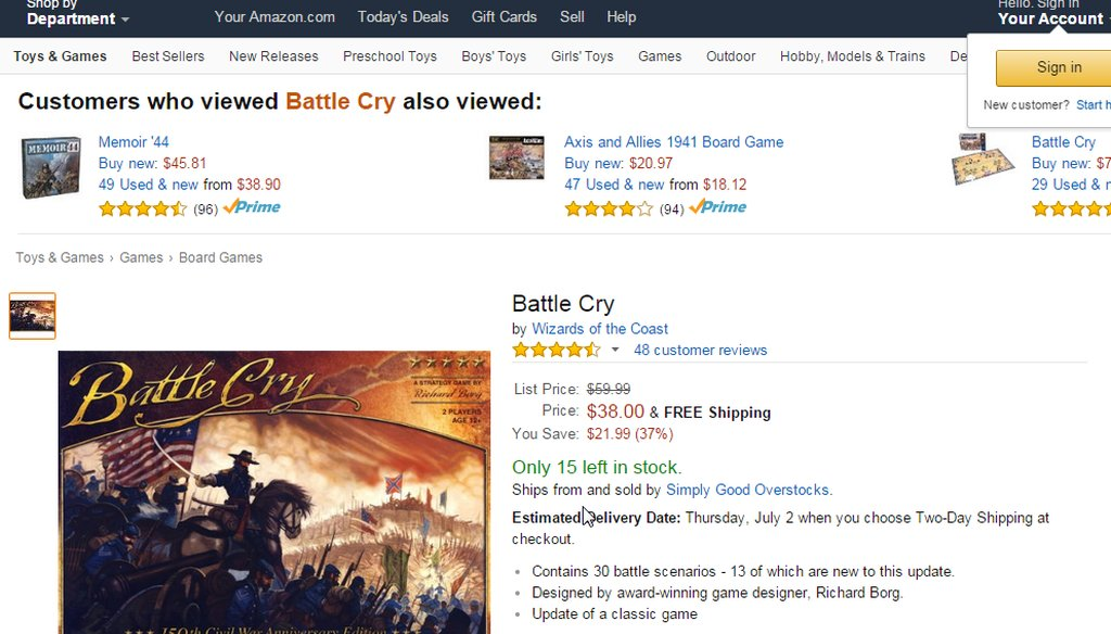 Newt Gingrich said Amazon removed educational board games about the Civil War. (Screen grab)