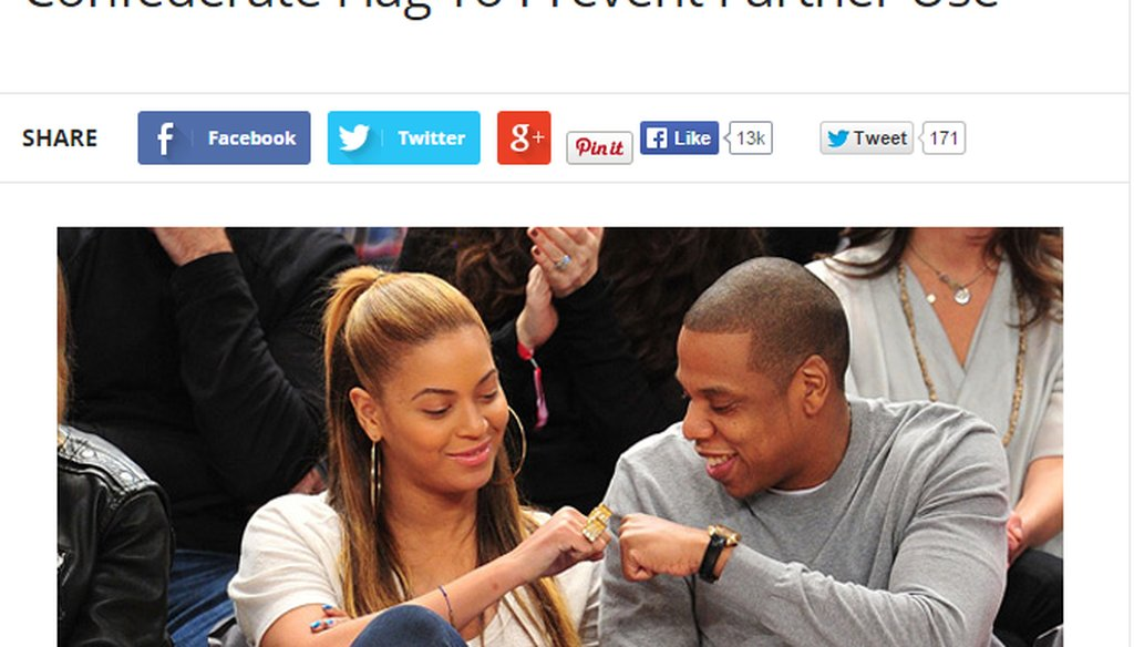 A website claims Jay-Z and Beyonce want to buy the rights to the Confederate flag. (Screengrab)