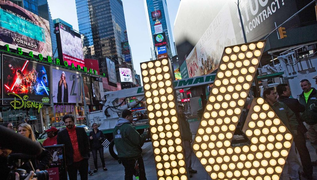 """The numerals """"1"""" and """"6,"""" to be used to spell out """"2-0-1-6"""" during the Times Square New Year's Eve celebration, are unveiled Dec. 15, 2015 in New York City. (Photo by Andrew Burton/Getty Images)"""