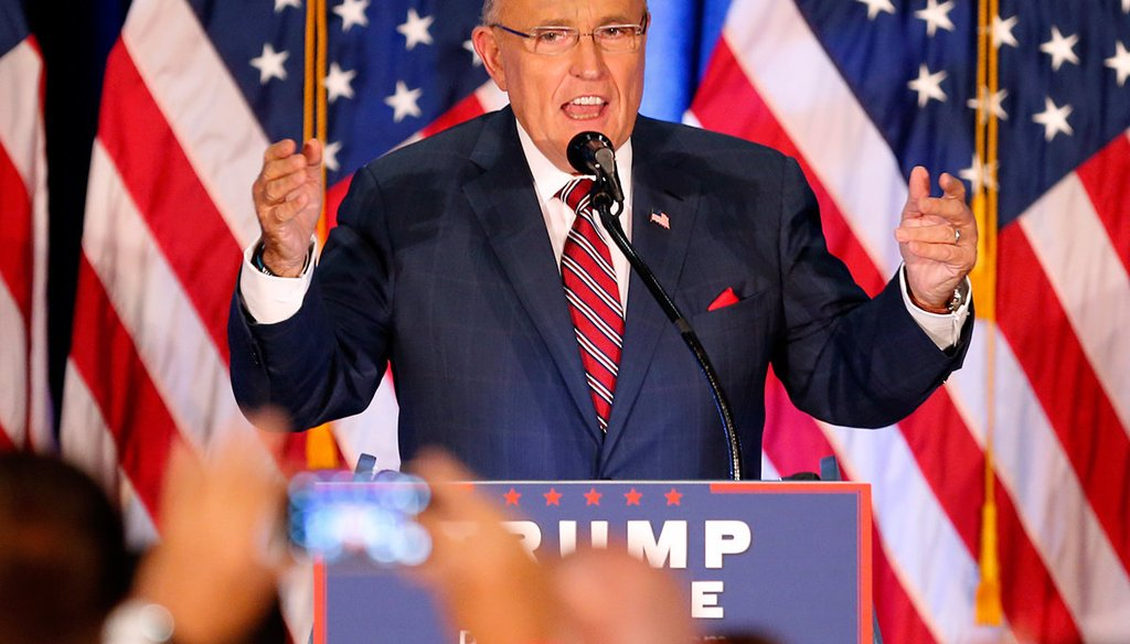 Former New York Mayor Rudy Giuliani speaks before Republican Presidential candidate Donald Trump in Youngstown, Ohio, Monday, Aug. 15, 2016. (AP Photo)