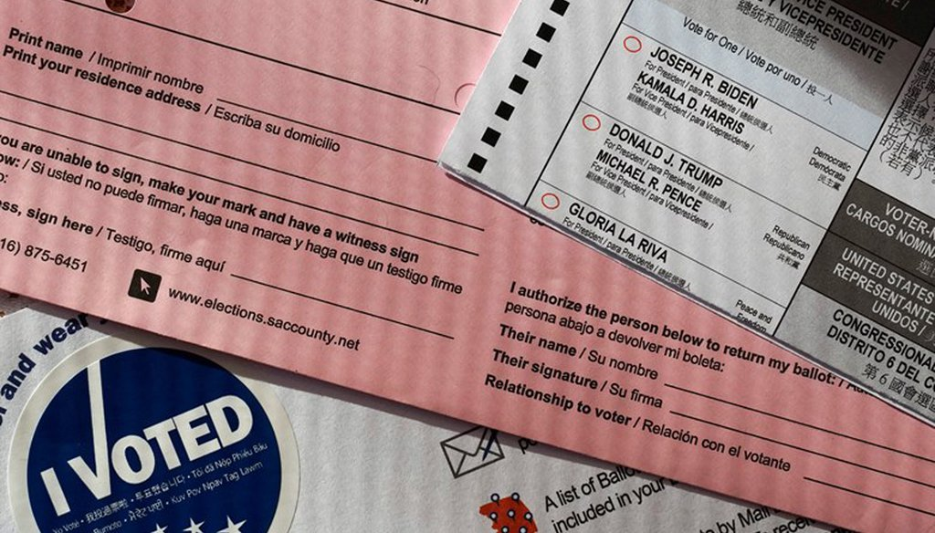 A ballot, one of many sent to every California voter, shows the portion where the voter would have to authorize another person to deposit it on their behalf, is seen in Sacramento, Calif., Thursday, Oct. 15, 2020.