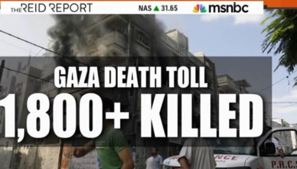 Joy Reid compared the deaths in Gaza to the deaths on Sept. 11, 2001, on her Aug. 4, 2014, show.