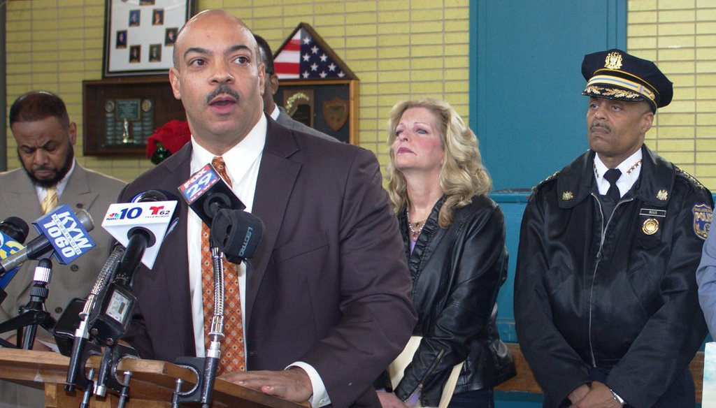 Philadelphia District Attorney Seth Williams speaks during a press conference in 2016. Photo via Philadelphia City Council, licensed via Creative Commons.