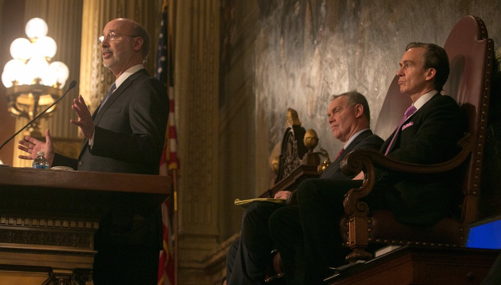 Governor Tom Wolf giving a budget address this February, as Speaker Mike Turzai and Lieutenant Governor Mike Stack look on. Credit: Governor Tom Wolf/Flickr