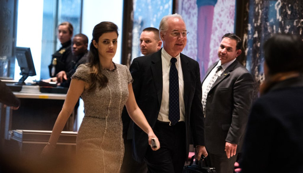 Representative Tom Price at Trump Tower in Manhattan in November. (New York Times photo)