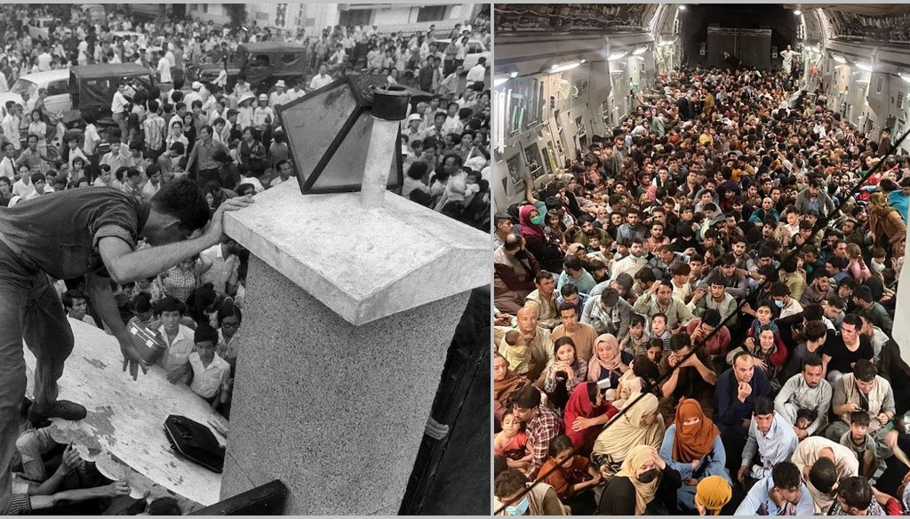 South Vietnamese civilians scale the U.S. Embassy wall in 1975 (left). Afghans crowded into a C-17 jet to escape the Taliban. (AP Photo/Neal Ulevich/U.S. Air Force))