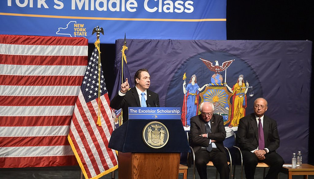 Gov. Andrew M. Cuomo announces a proposal to provide free college tuition for qualifying students at public colleges in New York. (Courtesy: Cuomo's Flickr page)