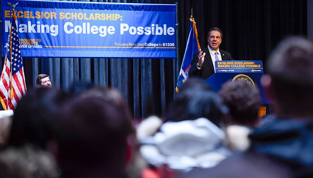 Gov. Andrew M. Cuomo delivers remarks at a rally at Buffalo State College on Feb. 7, 2017 (Courtesy: Cuomo's Flickr page)