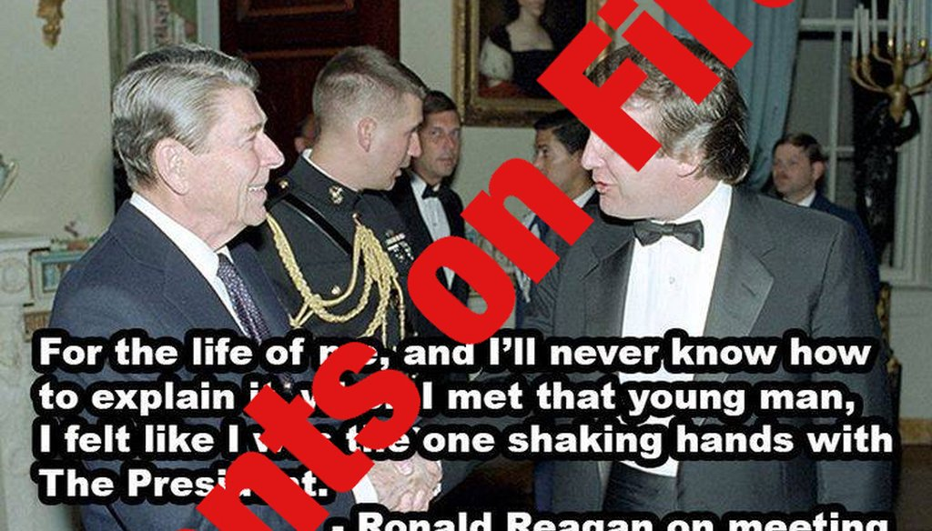 "Ronald Reagan didn't say he felt like he ""was the one shaking hands with the president"" when he met Donald Trump."