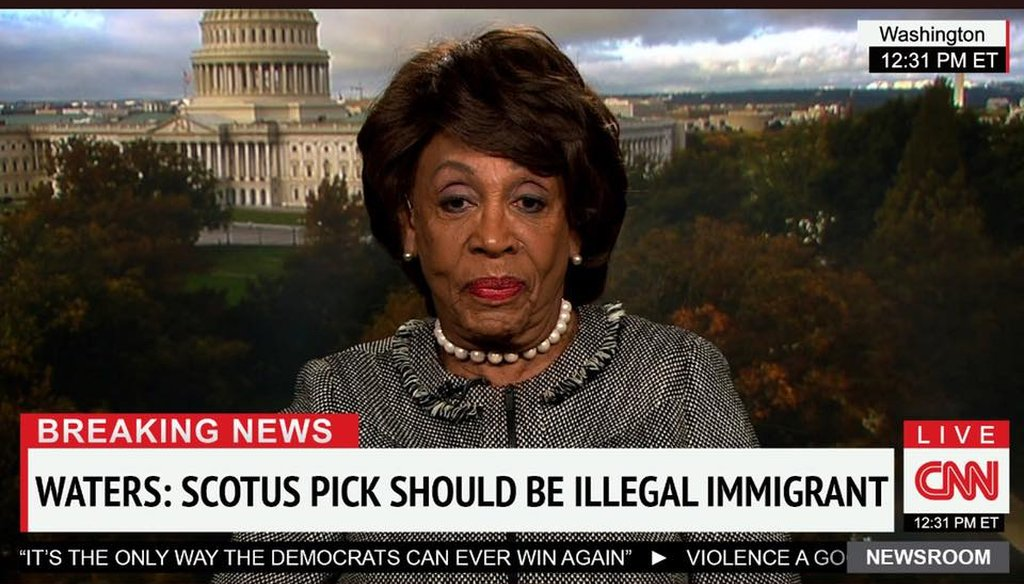 A doctored, viral image purporting to show U.S. Rep Maxine Waters discussing the open U.S. Supreme Court seat on CNN