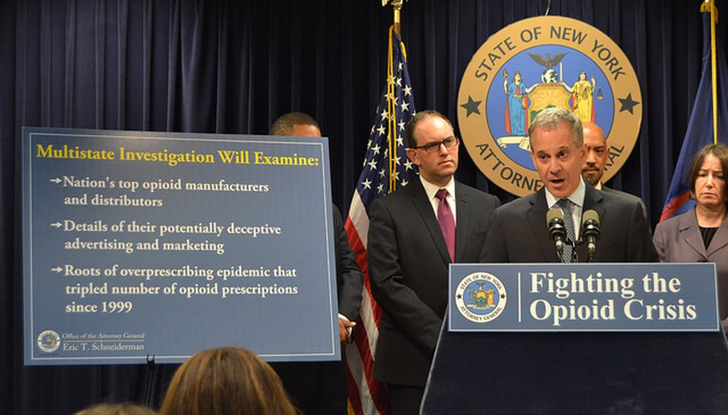New York State Attorney General Eric Schneiderman claimed some states have more opioid prescriptions than residents. (Courtesy: Schneidermans' Flickr page)