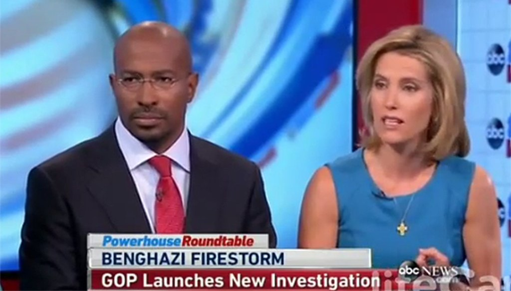 "Conservative radio host Laura Ingraham, right, talked about the attack on a U.S. diplomatic facility in Benghazi, Libya, on ABC's ""This Week."""
