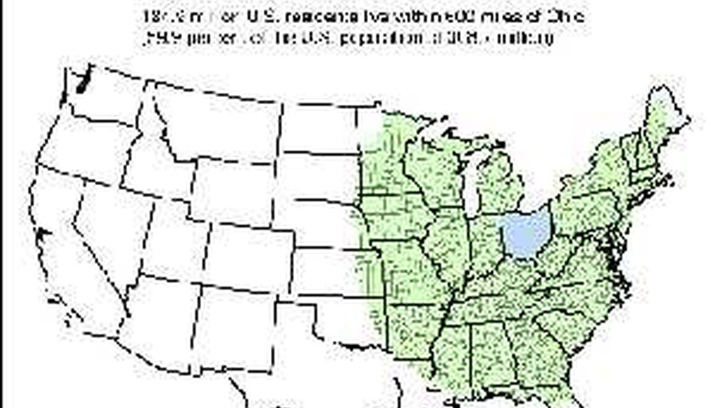 "The area shaded green represents counties within 600 miles of Ohio's borders. <a href=""http://media.cleveland.com/datacentral/photo/600-miles-of-ohiojpg-95bade4b893a3bd3.jpg"" target=""blank"">Click to see the full-size version.</a>"