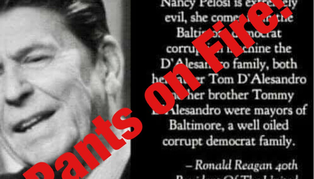 A Facebook post wrongly claimed that former president Ronal Reagan called U.S. House Speaker Nancy Pelosi evil.