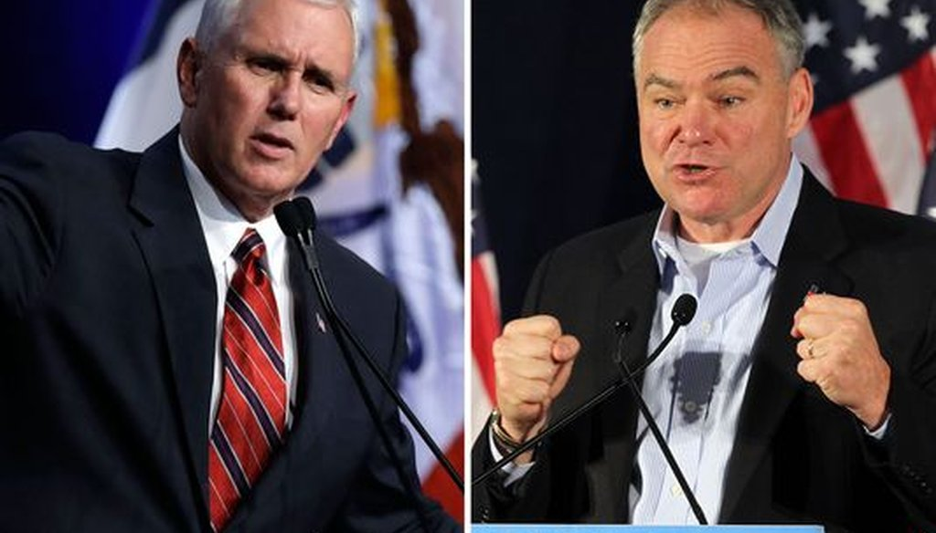 Mike Pence and Tim Kaine give speeches in a composite of photos (Associated Press)