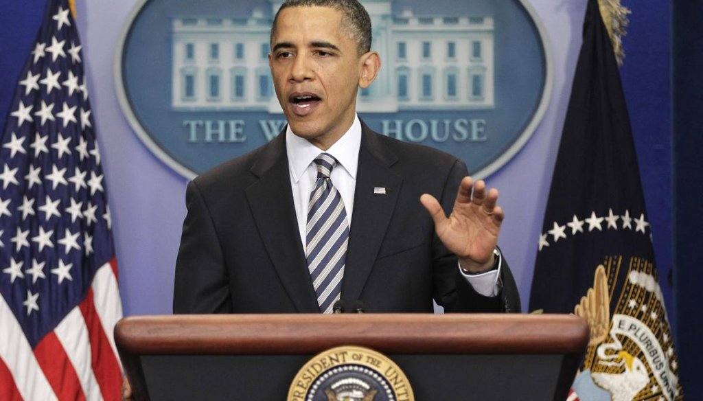 President Barack Obama gestures while speaking to reporters about the controversy over his birth certificate and true nationality, Wednesday, April 27, 2011, at the White House in Washington. (AP Photo/J. Scott Applewhite)